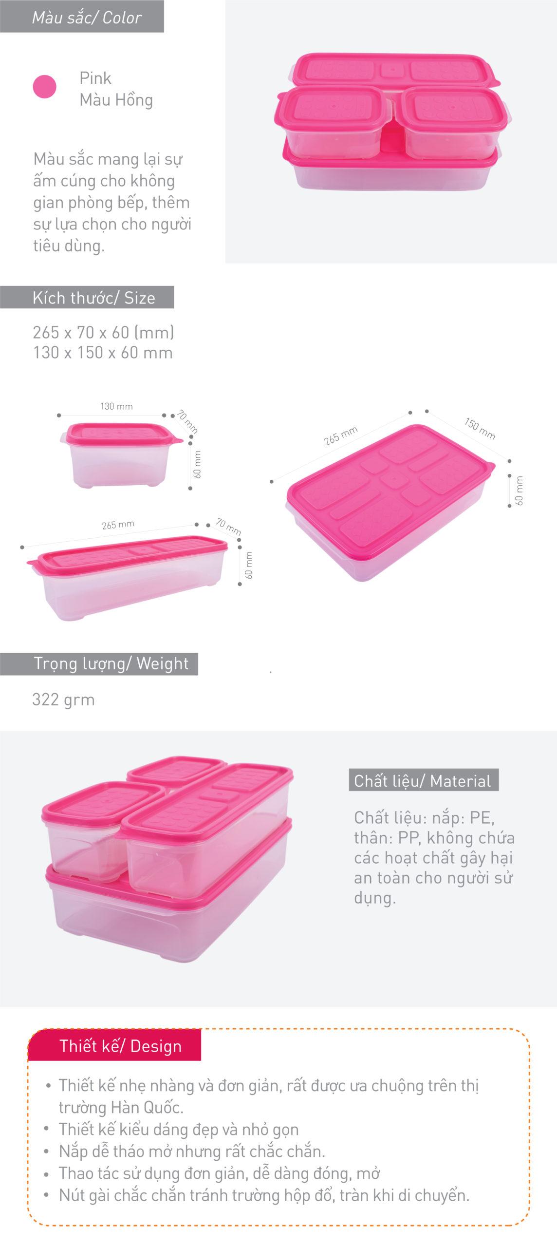 Set 4 hộp nhựa cơm trưa