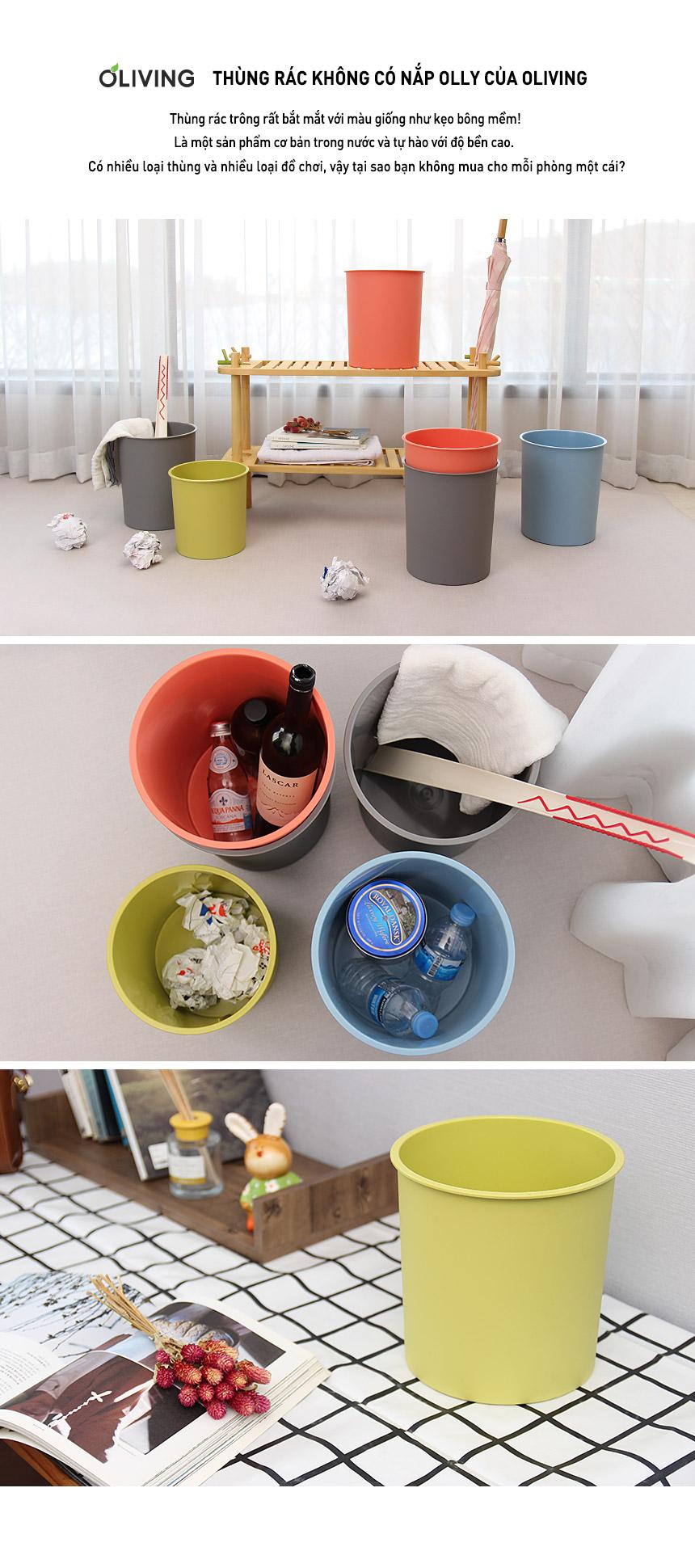 Set 2 thùng rác nhựa không nắp Oliving 6L